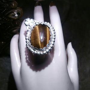 Sterling clover Tiger Eye Ring